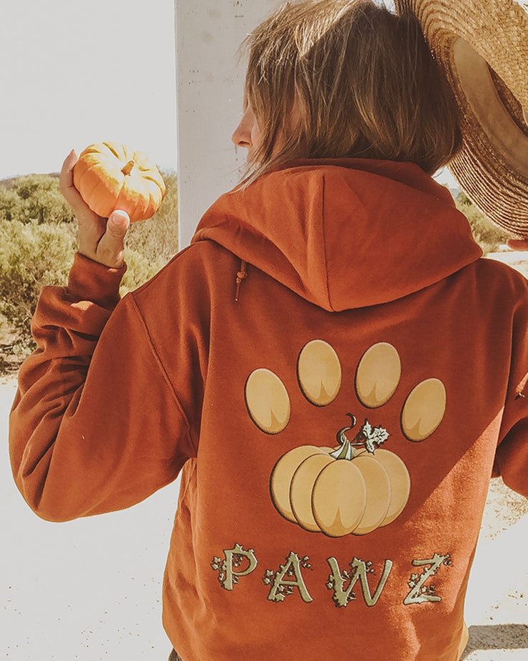 Burnt Orange Pumpkin Vine Hoodie - Pawz
