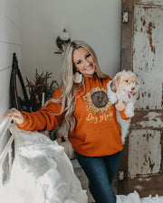 Pawz Burnt Orange Sunflower Dog Mom Hoodie - Pawz