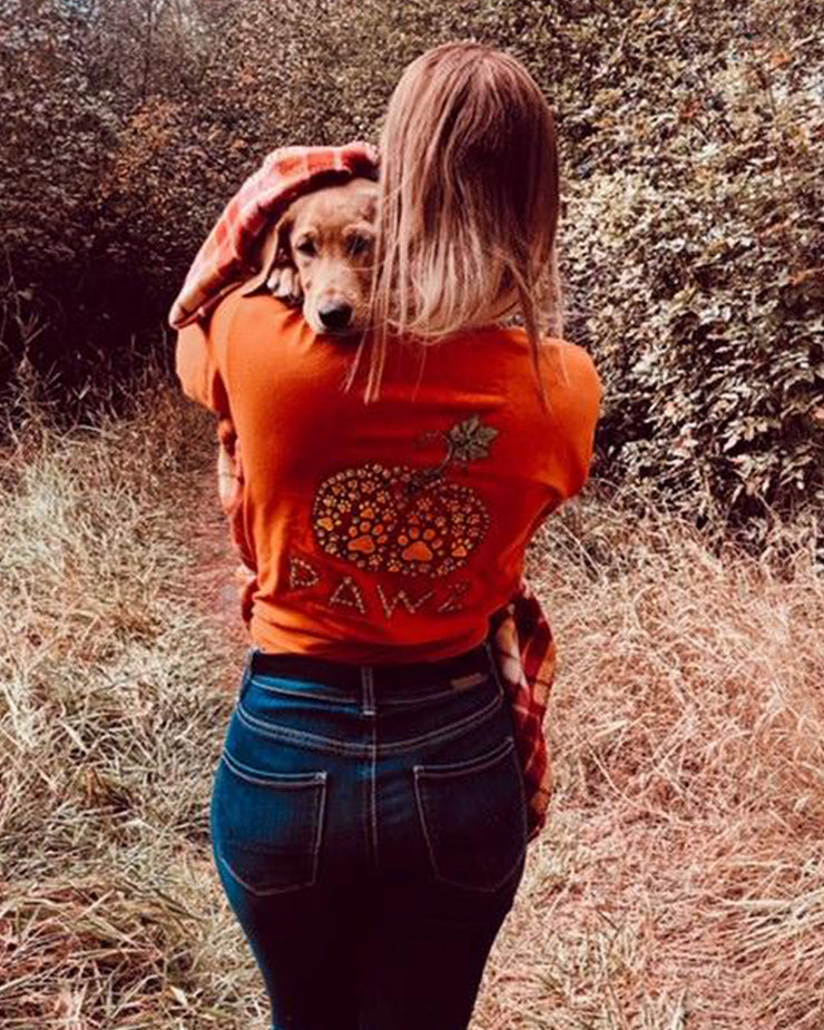 Tiny Pumpkin Pawz Burnt Orange Long Sleeve (Back Print) - Pawz