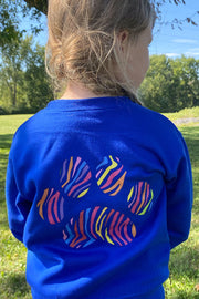 Pawz Kidz Colorful Zebra Blue Crewneck Sweatshirt - Pawz