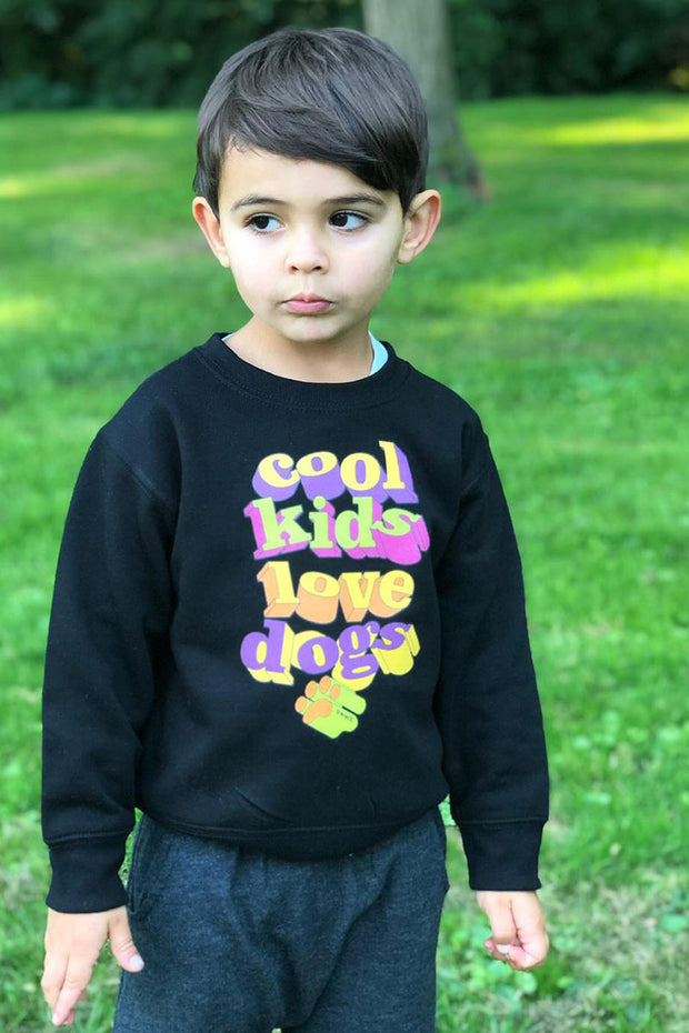 Pawz Cool Kids Love Dogs Black Crewneck Sweatshirt - Pawz
