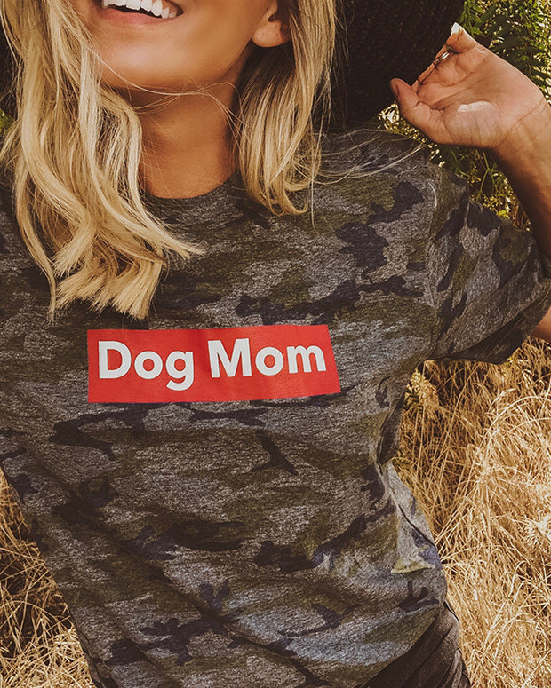 Camo Dog Mom Red Block Tee - Pawz