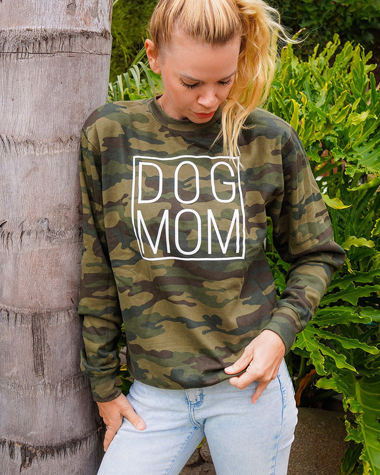 Pawz White Simple Dog Mom Forest Camo Crewneck - Pawz