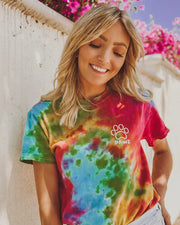Celebration Tie Dye Swirly White Open Print Tee - Pawz