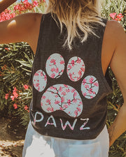 Charcoal Cherry Blossom Tank Top - Pawz