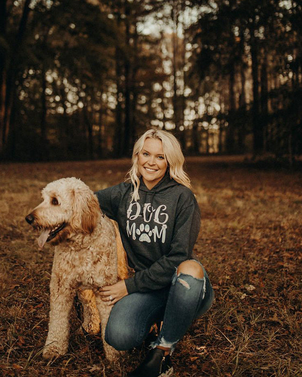Pawz Floral Dog Mom Charcoal Hoodie - Pawz