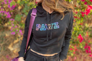 Pawz Rainbow College Black Crop Hoodie