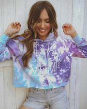 Cotton Candy Simple Dog Mom Tie Dye Cropped Hoodie - Pawz