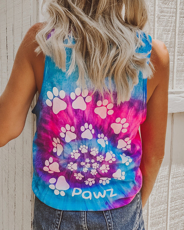 Pawz Cotton Candy Tie Dye White Spiral Tank Top - Pawz