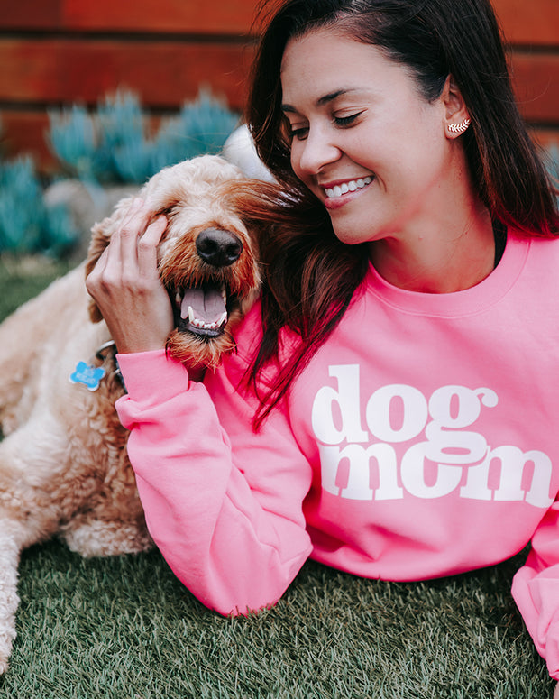 Pawz dog mom. White Print Neon Pink Crewneck - Pawz