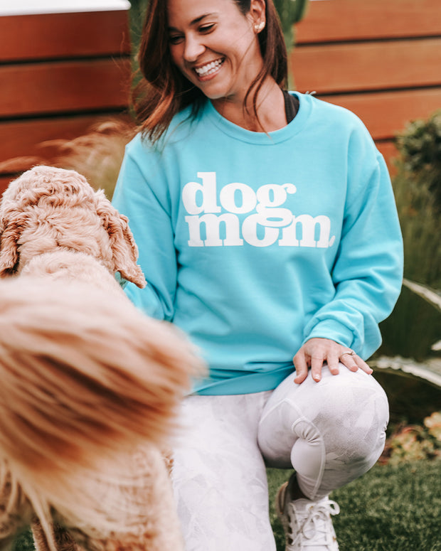 Pawz dog mom. White Print Turquoise Crewneck - Pawz