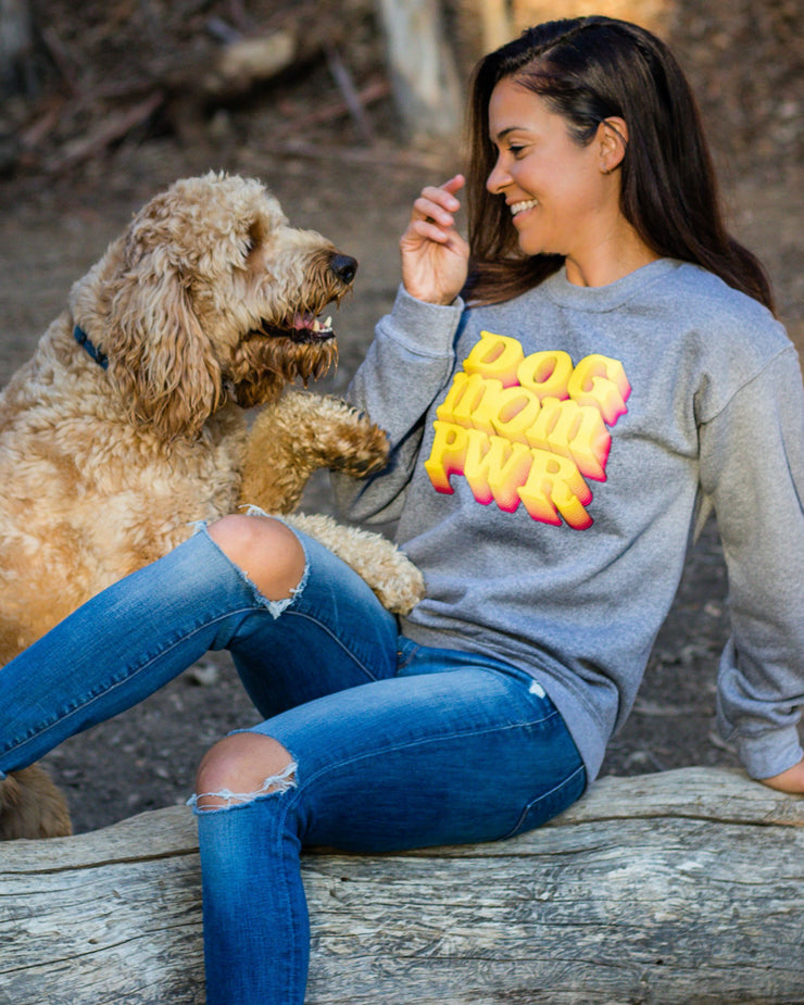 Pawz Dog Mom Pwr Grey Crewneck - Pawz