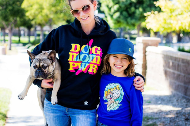 Pawz Kidz Surfer Dog Blue Crewneck Sweatshirt - Pawz