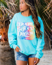 Pawz Colorful Dogs Before Dudes Turquoise Crewneck - Pawz