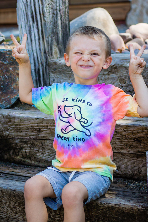 Pawz Kidz Be Kind To Every Kind Rainbow Sherbet Tie Dye Tee - Pawz