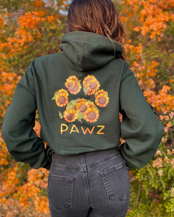Pawz Sunflower Bouquet Forest Green Hoodie - Pawz