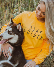 Gold Stay Golden Front Print Long Sleeve - Pawz