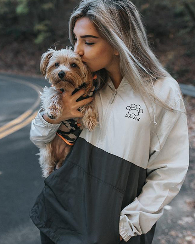 Pawz Grey & White Half Zip Windbreaker - Pawz