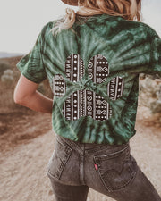 Pawz Boho Tribal Forest Green Tie Dye Tee - Pawz