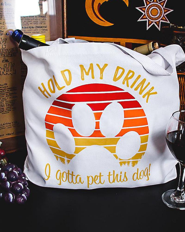 Pawz Mystery White Hold my Drink Stuffed Tote - Pawz