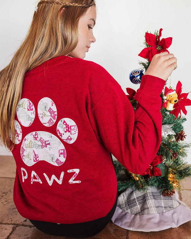 Pawz Home for Christmas Candy Red Crewneck - Pawz
