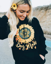 Hooded Black Sunflower Dog Mom Print - Pawz