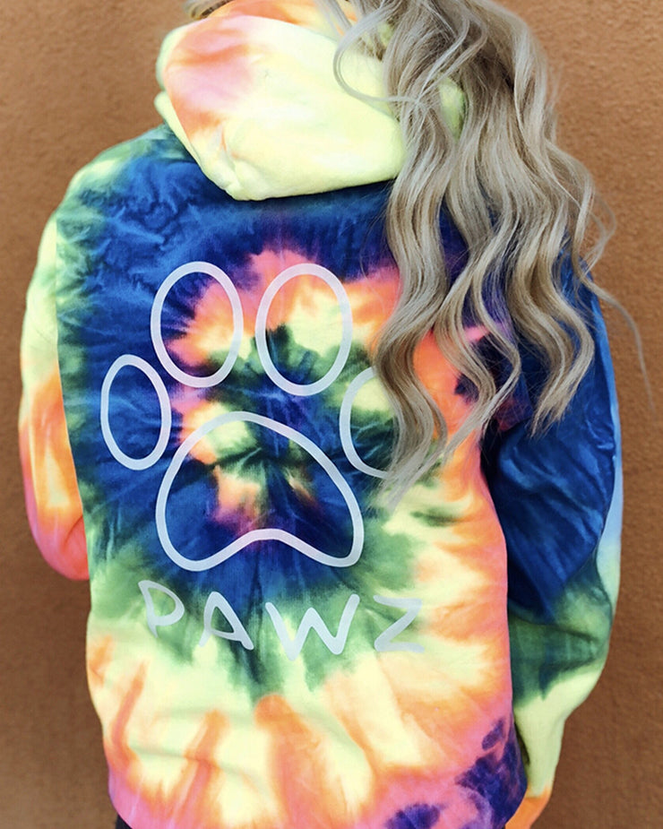 Hooded Fluorescent Tie Dye Classic Print - Pawz