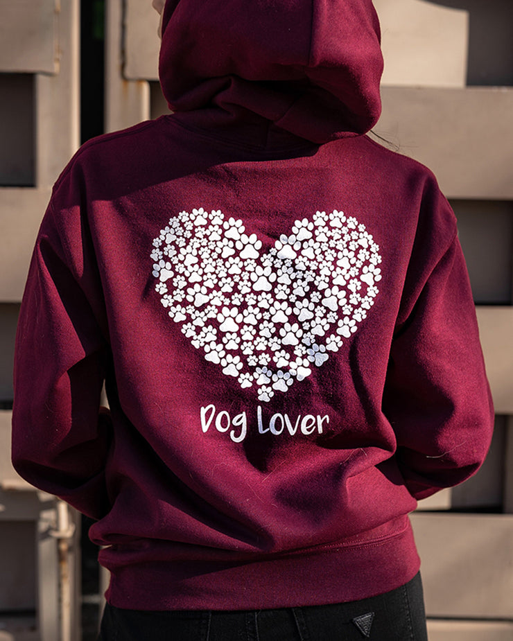 Hooded Maroon White Paw Heart Dog Lover Print - Pawz