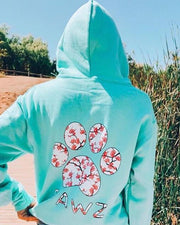 Hooded Mint Cherry Blossom Print - Pawz