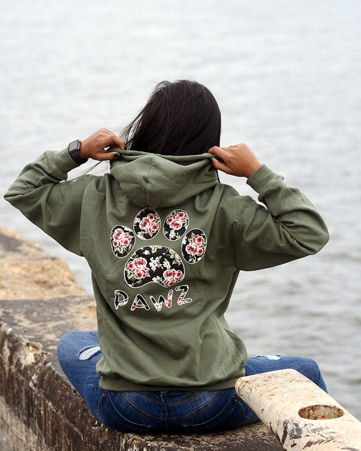 Hooded Olive Rose Print - Pawz