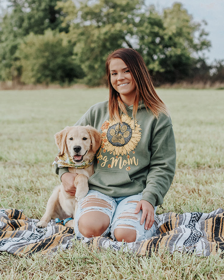 Pawz Sunflower Dog Mom Olive Hoodie - Pawz