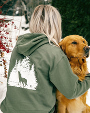 Hooded Olive Wolf Forest White Print - Pawz