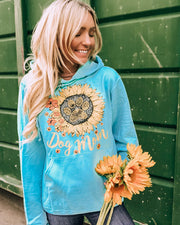 Hooded Turquoise Sunflower Dog Mom Print - Pawz