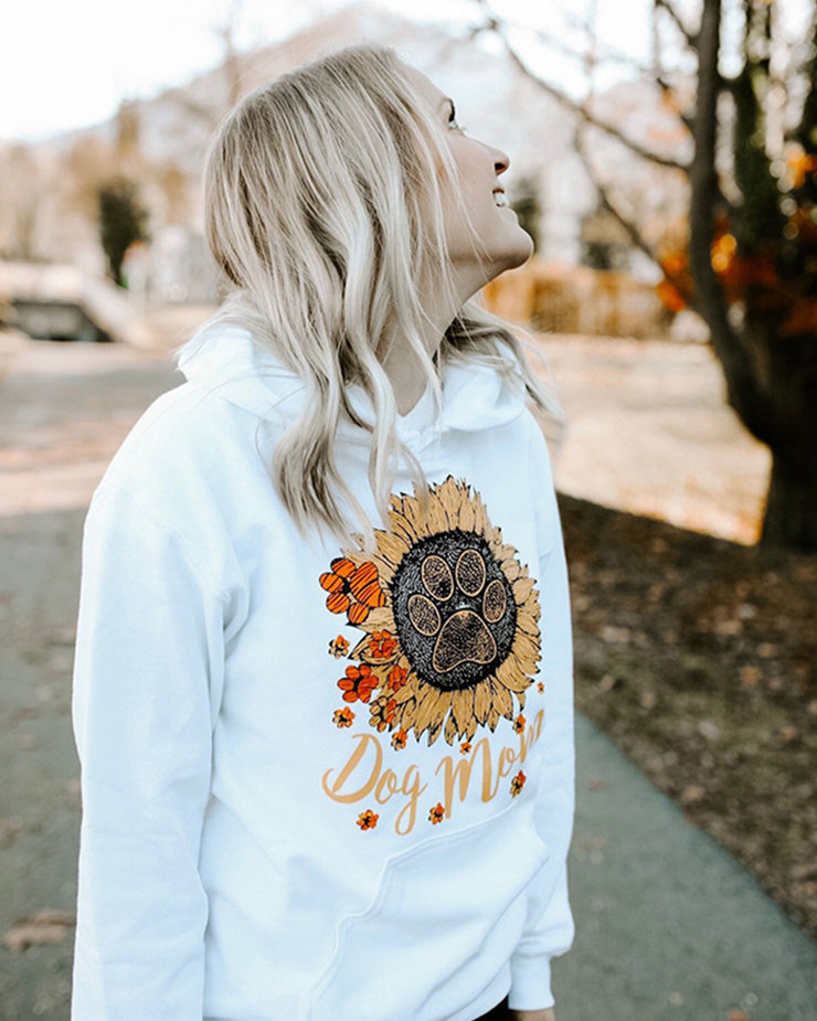 Hooded White Sunflower Dog Mom Print - Pawz