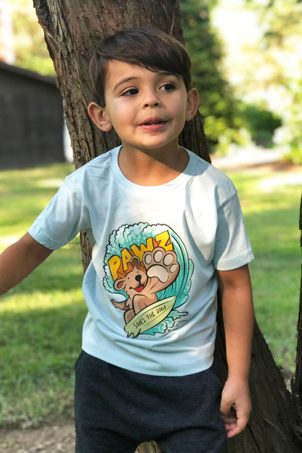 Pawz Kidz Ice Blue Surfer Dog Tee - Pawz