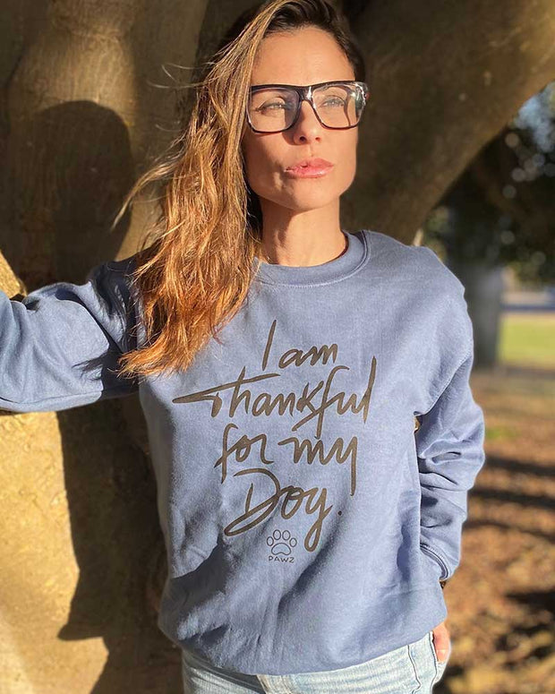 Pawz Thankful For My Dog Indigo Crewneck - Pawz
