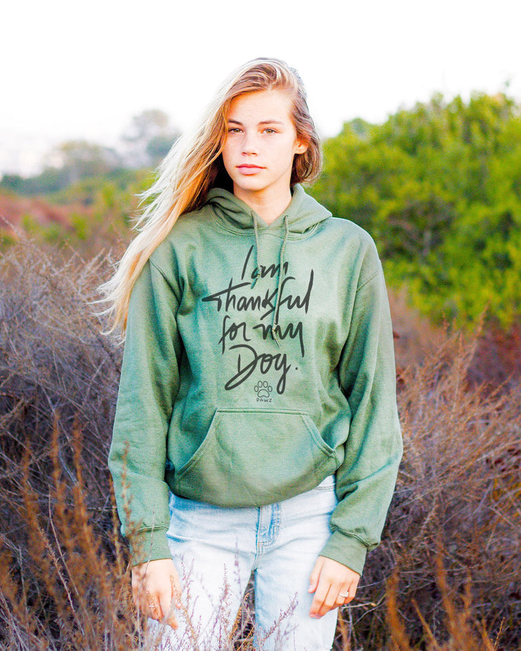 Pawz Thankful For My Dog Heather Green Hoodie - Pawz