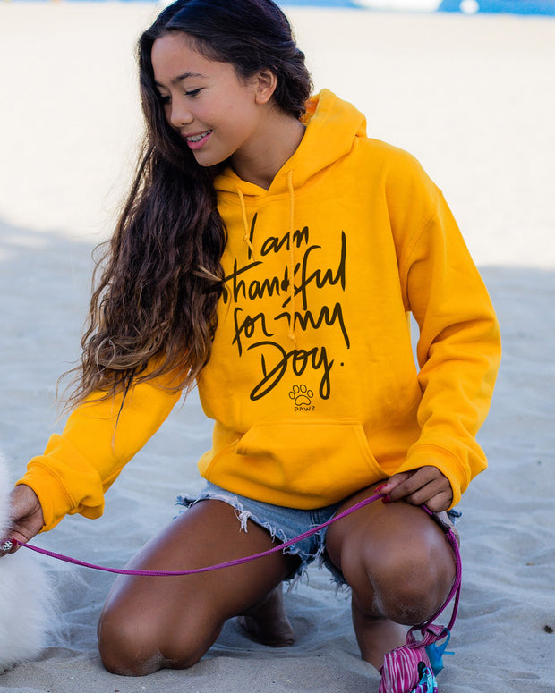 Pawz Thankful for My Dog Gold Hoodie - Pawz