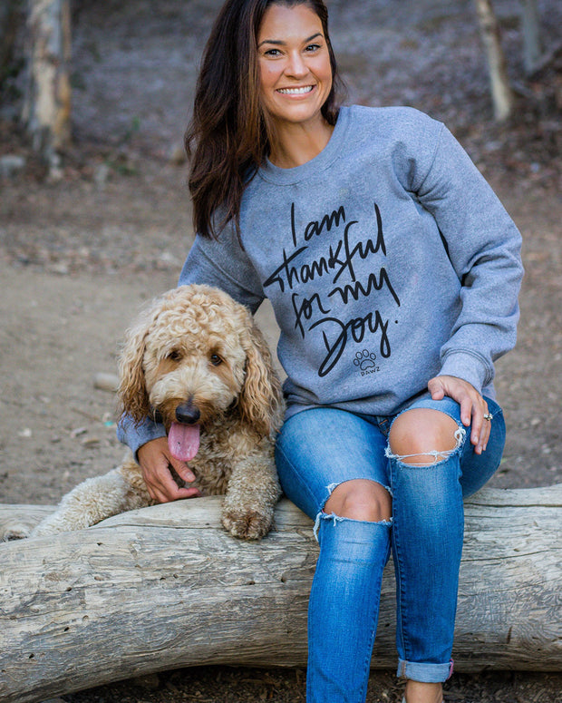 Pawz Thankful For My Dog Grey Crewneck - Pawz