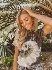 Short Sleeve Camo Swirly Tie Dye White Print - Pawz