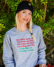 Pawz Holiday Jingle Front Print Sport Grey Crewneck - Pawz