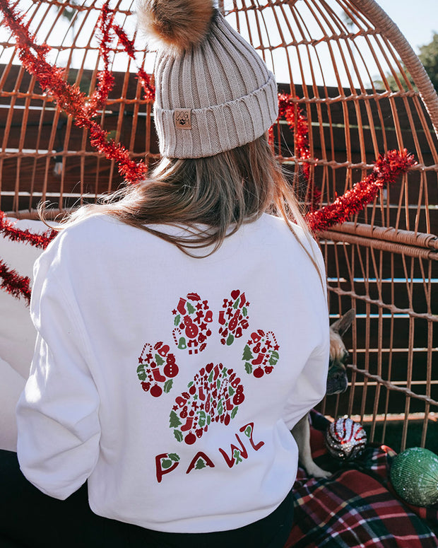 Pawz Holly Jolly Print White Crewneck - Pawz