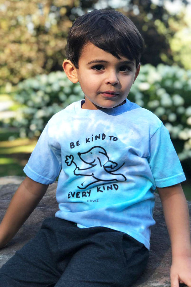 Pawz Kidz Be Kind To Every Kind Lagoon Tie Dye Tee - Pawz
