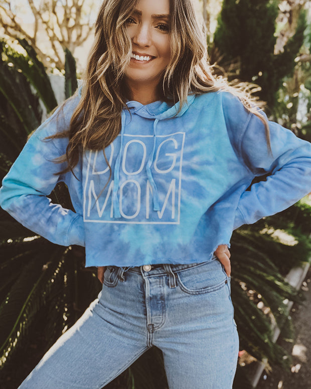 Lagoon Simple Dog Mom Tie Dye Cropped Hoodie - Pawz