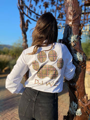 Pawz Plaid Leopard Print White Long Sleeve - Pawz