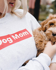 Long Sleeve Ash Dog Mom Red Block Front Print - Pawz