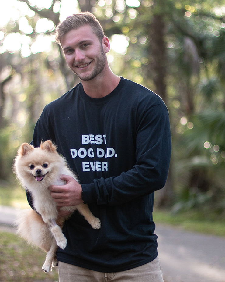 Long Sleeve Black Men's Best Dog Dad Ever Front Print - Pawz