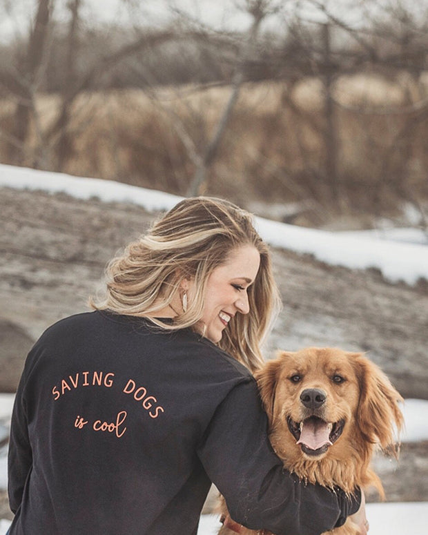 Pawz Saving Dogs is Cool Red Back Black Long Sleeve - Pawz