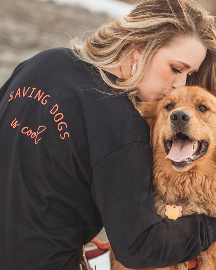 Long Sleeve Black Saving Dogs is Cool Red Back Print - Pawz