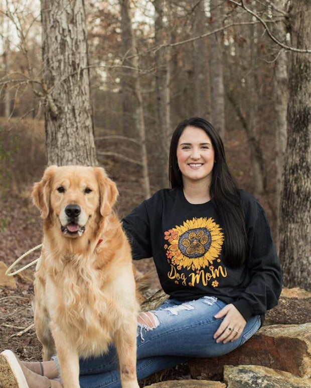 Pawz Sunflower Dog Mom Black Long Sleeve - Pawz